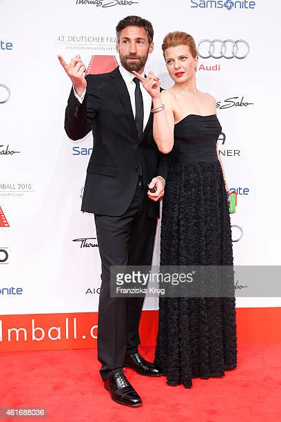 Benjamin Sadler and Joerdis Triebel attend the German Film Ball 2015 on January 17 2015 in Munich Germany