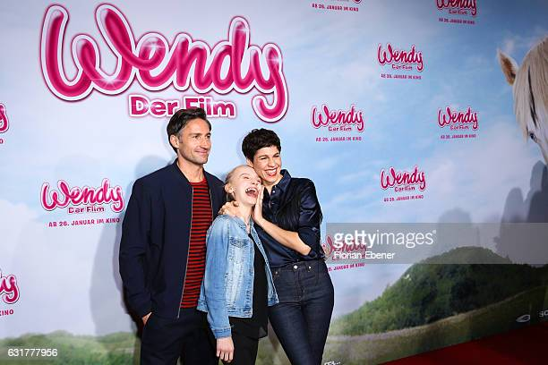 Benjamin Sadler Jule Hermann and Jasmin Gerat attend the premiere of 'Wendy Der Film' at Cinedom on January 15 2016 in Cologne Germany
