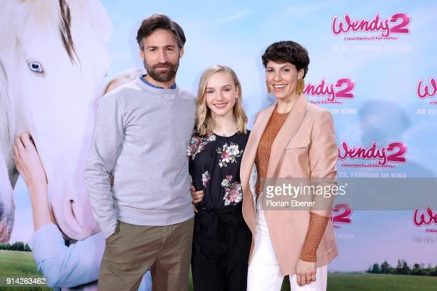 Benjamin Sadler Jule Hermann and Jasmin Gerat attend the premiere of 'Wendy 2 Der Film' at Cinedom on February 4 2018 in Cologne Germany