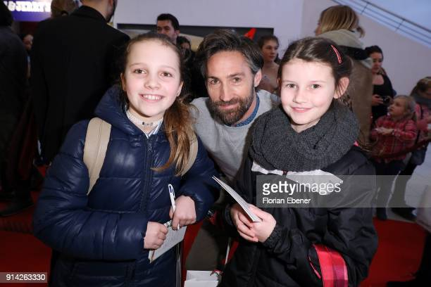 Benjamin Sadler with fans during the premiere of 'Wendy 2 Der Film' at Cinedom on February 4 2018 in Cologne Germany