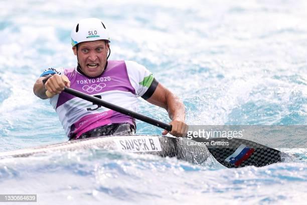 Benjamin Savsek of Team Slovenia competes during the Men's Canoe Slalom Final on day three of the Tokyo 2020 Olympic Games at Kasai Canoe Slalom...