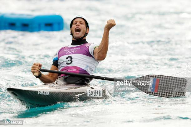 Benjamin Savsek of Team Slovenia reacts following his gold medal run in the Men's Canoe Slalom Final on day three of the Tokyo 2020 Olympic Games at...