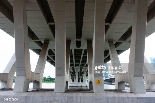 Benjamin Sheares Bridge concrete pillars in Singapore