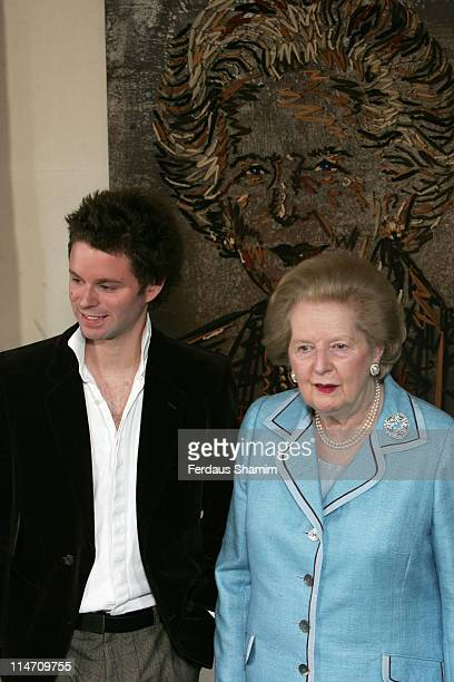 Benjamin Shine and Baroness Margaret Thatcher during Margaret Thatcher Portrait Unveiled at Dorchester Hotel in London Great Britain