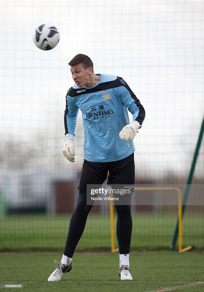 Benjamin Siegrist of Aston Villa trains with his team mates during a Aston Villa training session at the club's training ground, Bodymoor Heath on April 19, 2013 in Birmingham, England.