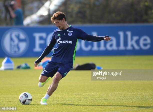 Benjamin STAMBOULI of Schalke controls the ball during a training session at the Schalke 04 Training center on March 28 2017 in Gelsenkirchen Germany