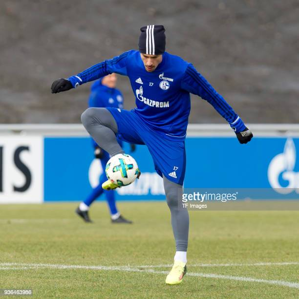 Benjamin Stambouli of Schalke controls the ball during a training session at the FC Schalke 04 Training center on March 14 2018 in Gelsenkirchen...
