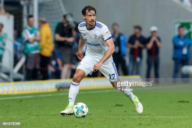 Benjamin Stambouli of Schalke controls the ball during the Bundesliga match between TSG 1899 Hoffenheim and FC Schalke 04 at Wirsol RheinNeckarArena...