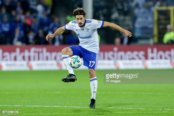 Benjamin Stambouli of Schalke controls the ball during the Bundesliga match between SportClub Freiburg and FC Schalke 04 at SchwarzwaldStadion on...
