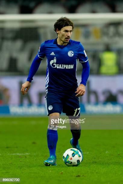 Benjamin Stambouli of Schalke controls the ball during the Bundesliga match between Eintracht Frankfurt and FC Schalke 04 at CommerzbankArena on...