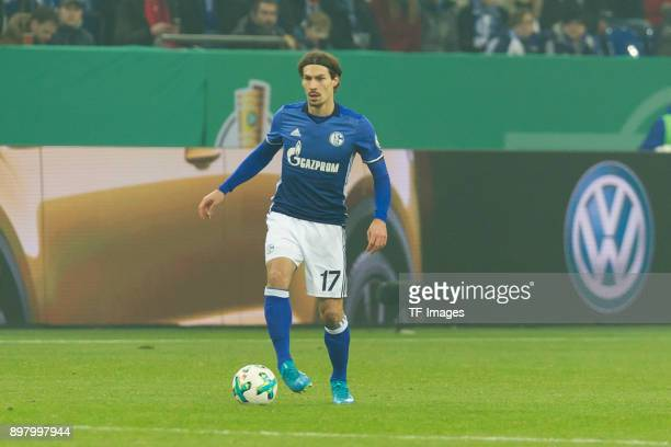 Benjamin Stambouli of Schalke controls the ball during the DFB Cup match between FC Schalke 04 and 1 FC Koeln at VeltinsArena on December 19 2017 in...