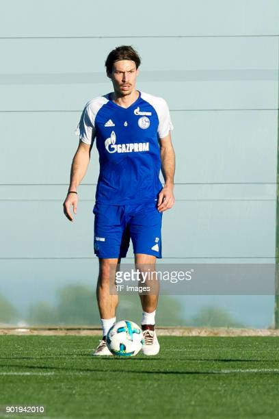 Benjamin Stambouli of Schalke controls the ball during the FC Schalke 04 training camp at Hotel Melia Villaitana on January 04 2018 in Benidorm Spain