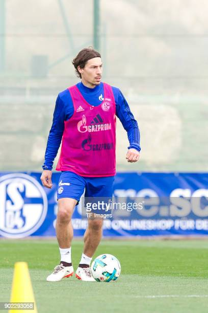 Benjamin Stambouli of Schalke controls the ball during the FC Schalke 04 training camp at Hotel Melia Villaitana on January 06 2018 in Benidorm Spain