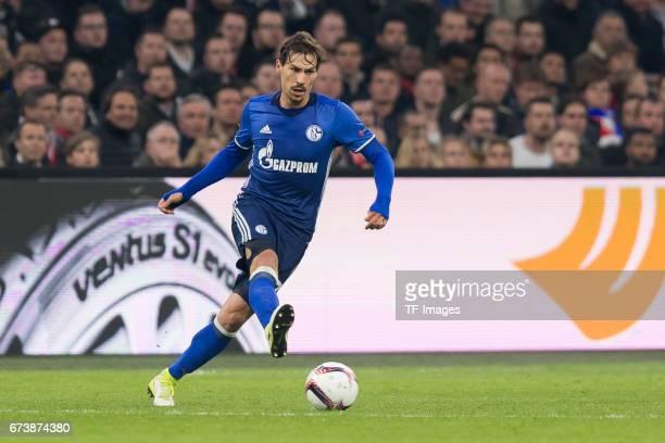Benjamin Stambouli of Schalke controls the ball during the UEFA Europa League Quarter Final first leg match between Ajax Amsterdam and FC Schalke 04...