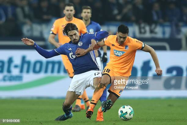 Benjamin Stambouli of Schalke fights for the ball with Nadiem Amiri of Hoffenheim during the Bundesliga match between FC Schalke 04 and TSG 1899...
