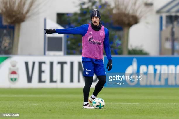 Benjamin Stambouli of Schalke gestures during a training session at the FC Schalke 04 Training center on December 06 2017 in Gelsenkirchen Germany