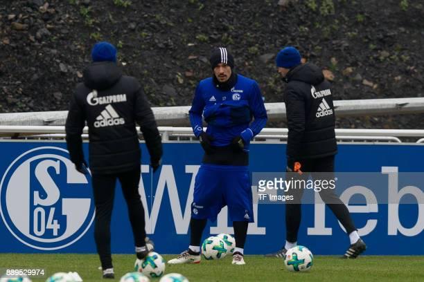 Benjamin Stambouli of Schalke looks on during a training session at the FC Schalke 04 Training center on December 05 2017 in Gelsenkirchen Germany