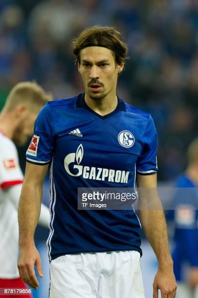 Benjamin Stambouli of Schalke looks on during the Bundesliga match between FC Schalke 04 and Hamburger SV at VeltinsArena on November 19 2017 in...