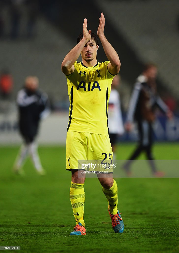 Benjamin Stambouli of Spurs applauds the travelling fans after defeat in the UEFA Europa League Group C match between Besiktas JK and Tottenham Hotspur FC at Ataturk Olympic Stadium on December 11, 2014 in Istanbul, Turkey.