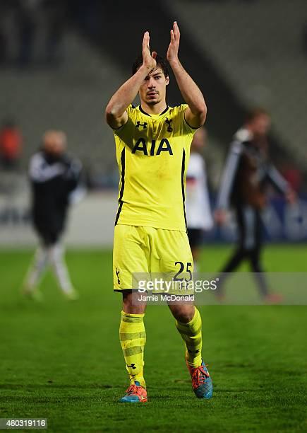Benjamin Stambouli of Spurs applauds the travelling fans after defeat in the UEFA Europa League Group C match between Besiktas JK and Tottenham...