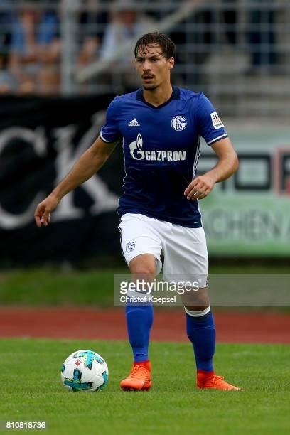 Benjamin Stamboulim of Schalke runs with the ball during the preseason friendly match between SpVgg Erkenschwick and FC Schalke 04 at Stimberg...