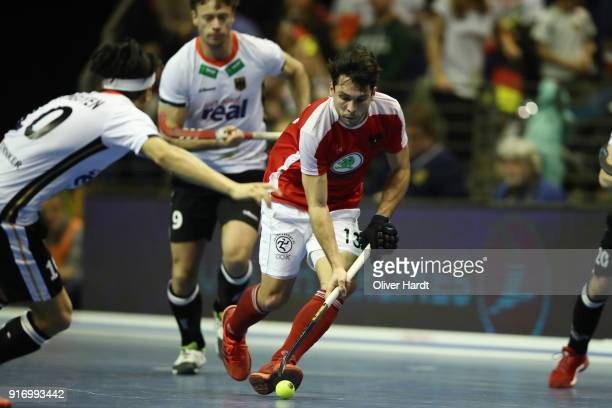 Benjamin Stanzl of Austria in action during the Mens Gold Medal Indoor Hockey World Cup Berlin Final Day match between Germany and Austria on...