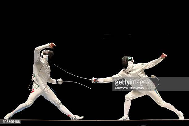 Benjamin Steffen of Switzerland fences Bogdan Nikishin of Ukraine in the men's Epee final during the International Fencing Tournament Aquece Rio Test...
