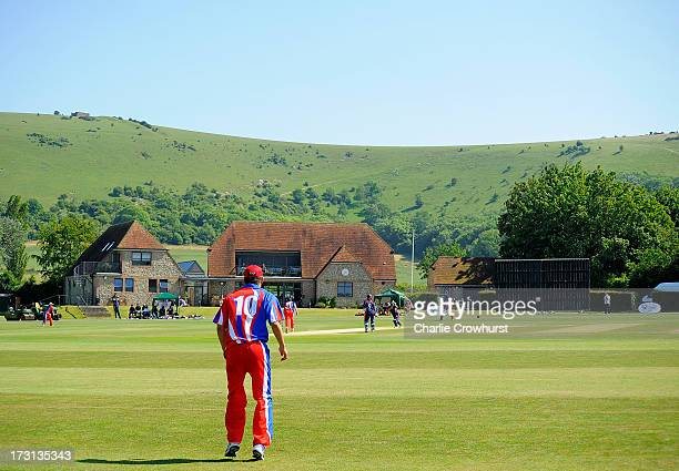 Benjamin Stevens of Jersey stands at the boundary during the European Division 1 Championship Group B match between Jersey and France at Preston...
