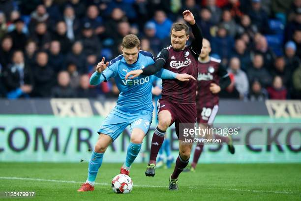 Benjamin Stokke of Randers FC and Andreas Bjelland of FC Copenhagen compete for the ball during the Danish Superliga match between Randers FC and FC...