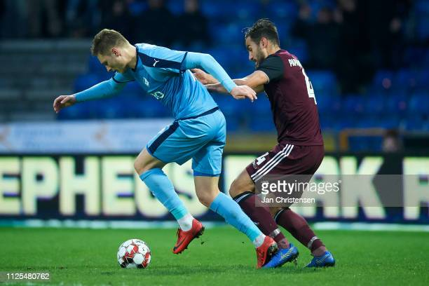 Benjamin Stokke of Randers FC and Sotirios Papagiannopoulos of FC Copenhagen compete for the ball during the Danish Superliga match between Randers...