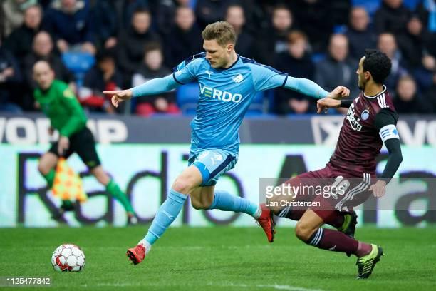 Benjamin Stokke of Randers FC in action during the Danish Superliga match between Randers FC and FC Copenhagen at Cepheus Park Randers on February 17...