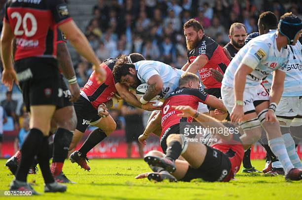 Benjamin Tameifuna of Racing 92 during the Top 14 rugby match between Racing 92 and RC Toulon on September 18 2016 in Colombes France