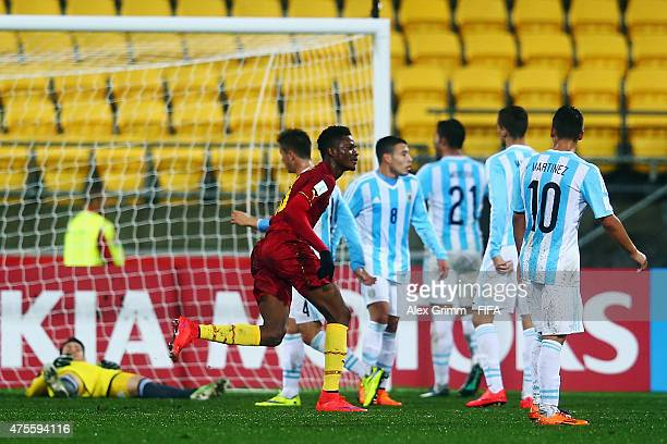 Benjamin Tetteh of Ghana celebrates his team's first goal during the FIFA U20 World Cup New Zealand 2015 Group B match between Argentina and Ghana at...
