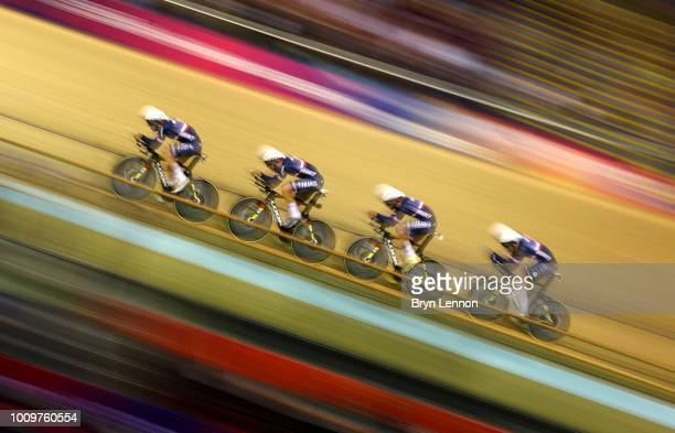 Benjamin Thomas, Adrien Garel, Corentin Ermenault and Louis Pijourlet of France compete during the men's team persuit qualifying during the track...
