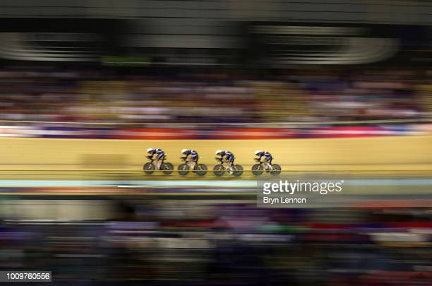 Benjamin Thomas Adrien Garel Corentin Ermenault and Louis Pijourlet of France compete during the men's team persuit qualifying during the track...