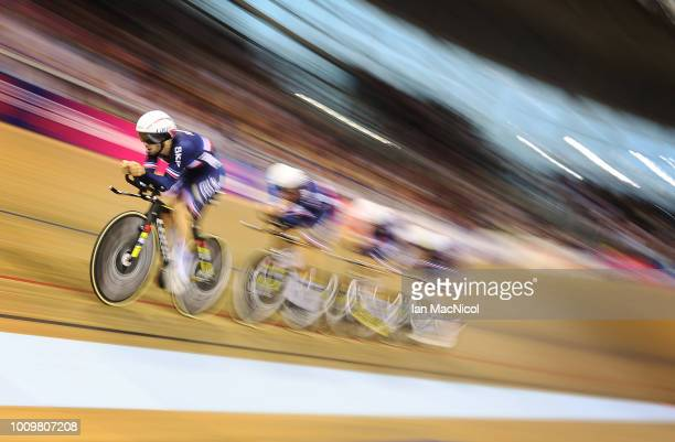 Benjamin Thomas, Adrien Garel, Corentin Ermenault and Louis Pijourlet of Team France compete during the Qualifying of the Men's Team Pursuit on Day...