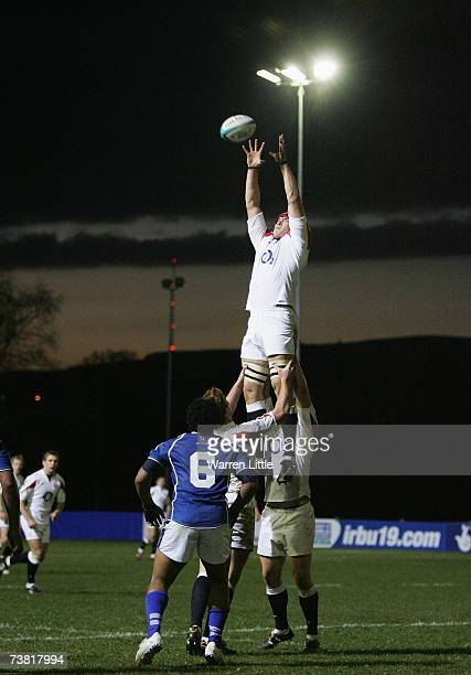 Benjamin Thomas of England wins the line out ball during the IRB U19 Rugby World Cup match between Samoa and England at Shaw's Bridge on April 5 2007...