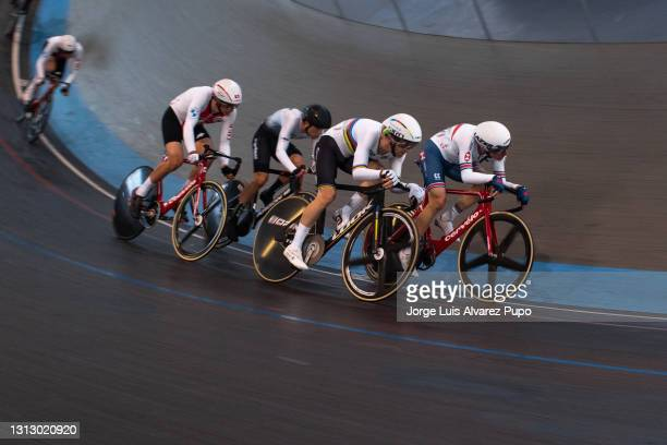 Benjamin Thomas of France and Ethan Hayter of Great Britain compete during the Points race of the Omnium as part of the UCI Belgian International...