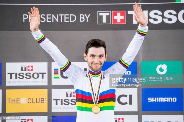 Benjamin Thomas of France celebrates winning in the Men's Omnium's prize ceremony during 2017 UCI World Cycling on April 15, 2017 in Hong Kong, Hong...