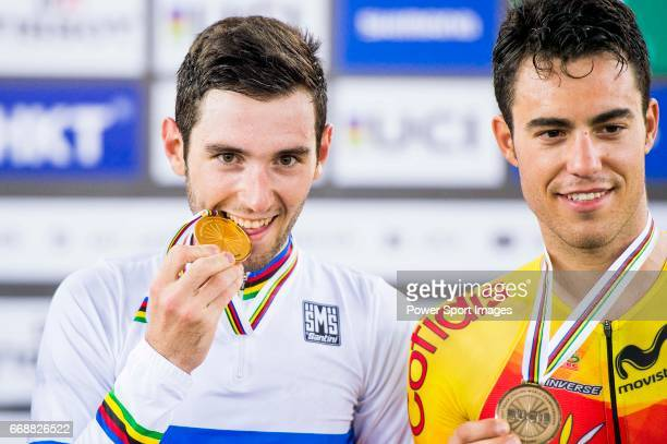 Benjamin Thomas of France celebrates winning in the Men's Omnium's prize ceremony with Albert Torres Barcelo of Spain during 2017 UCI World Cycling...