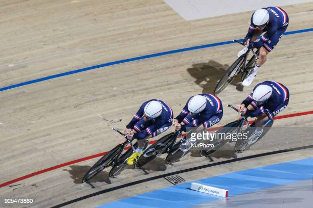 Benjamin ThomasAdrien GarelFlorian MaitreLouis Pijouret of Men`s team Pursuit squad take part in the qualifying round of the UCI Track Cycling World...