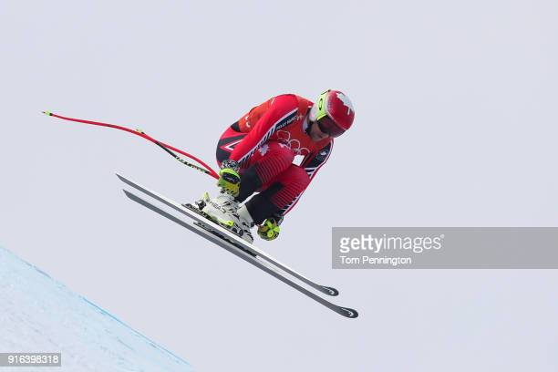 Benjamin Thomsen of Canada makes a run during the Men's Downhill 3rd Training on day one of the PyeongChang 2018 Winter Olympic Games at Jeongseon...