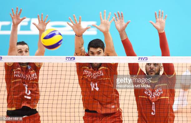 Benjamin Toniutti Nicolas Le Goff and Earvin Ngapeth of France in action during FIVB World Championships match between France and Argentina on...