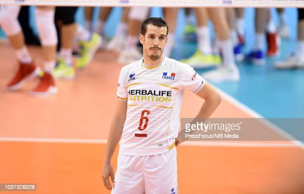 Benjamin Toniutti of France looks dejected after the FIVB World Championships match between Serbia and France on September 21 2018 in Varna Bulgaria