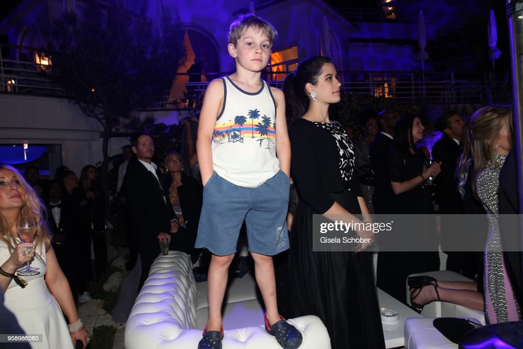 Benjamin Travolta, son of John Travolta and Kelly Preston and his sister Ella Bleu Travolta during the party in Honour of John Travolta's receipt of the Inaugural Variety Cinema Icon Award during the 71st annual Cannes Film Festival at Hotel du Cap-Eden-Roc on May 15, 2018 in Cap d'Antibes, France.