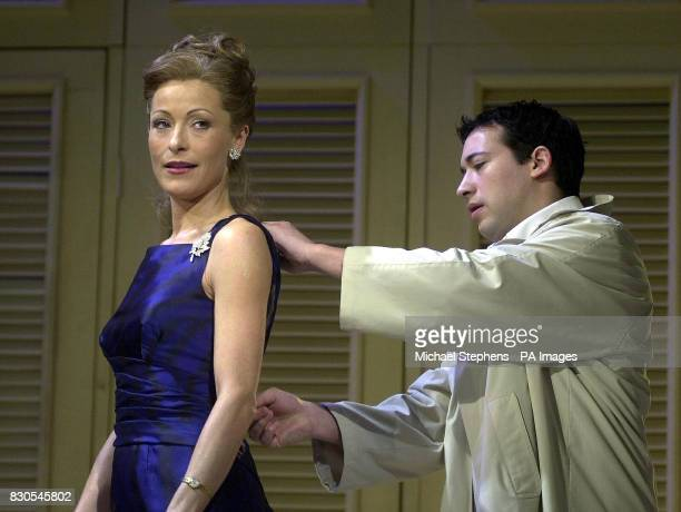 Benjamin unzips the dress of former LA Law actress Amanda Donohoe in the West End production of The Graduate at the Gielgud Theatre in London...