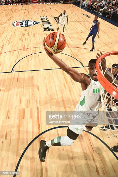 Benjamin Uzoh of Nigeria shoots the ball against the USA Basketball Men's National Team on August 1 2016 at the Toyota Center in Houston Texas NOTE...
