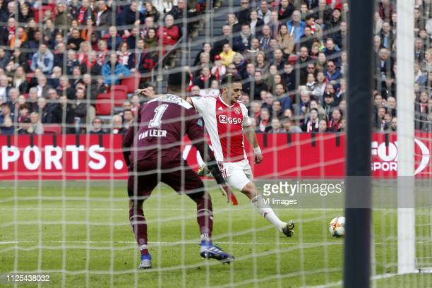 Benjamin van Leer of NAC Breda Dusan Tadic of Ajax during the Dutch Eredivisie match between Ajax Amsterdam and NAC Breda at the Johan Cruijff Arena...