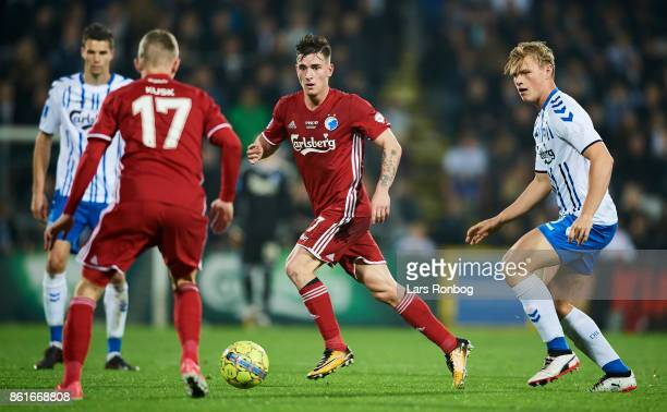 Benjamin Verbic and Kasper Kusk of FC Copenhagen in action during the Danish Alka Superliga match between OB Odense and FC Copenhagen at EWII Park on...