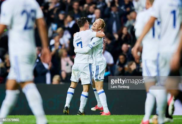 Benjamin Verbic and Nicolai Boilesen of FC Copenhagen celebrate after scoring their second goal during the Danish Alka Superliga match between FC...
